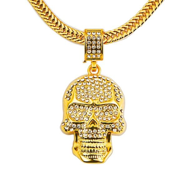 Skull pendant with rhinestones hip hop jewelry long chain necklaces skull pendant with rhinestones hip hop jewelry long chain necklaces factory directly sale aloadofball Images