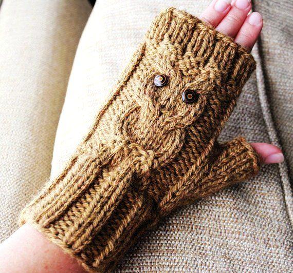 Pdf Pattern Knit Cable Owl Gloves Aran Yarn I Love To Knit