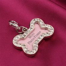 S Size Stainless Steel Pet Cat Dog ID Tags Personalized Bone Shaped Dog Tag Pink(Hong Kong)