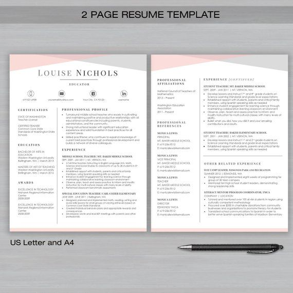 TEACHER Resume Template for MS Word and Apple Pages 1, 2  3 Page - apple pages resume templates