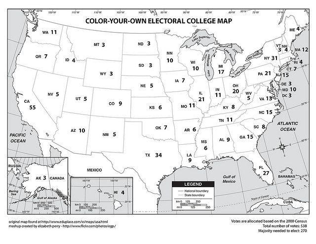 This Is So Cool ColorYourOwn Electoral College Map Homeschool - Us map electoral to color