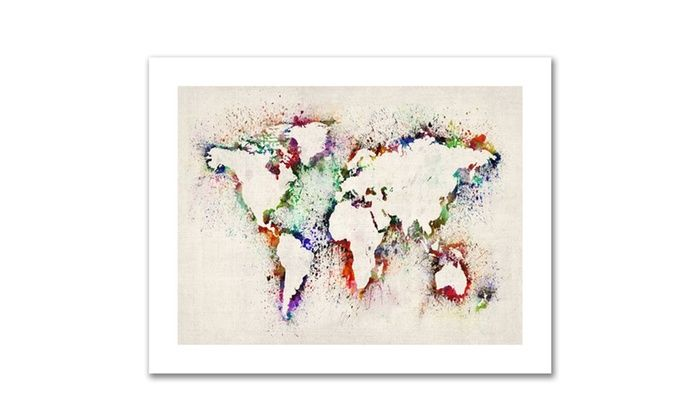 Groupon goods connected supply michael tompsett world map paint groupon goods connected supply michael tompsett world map paint splashes canvas rolled art solutioingenieria Images