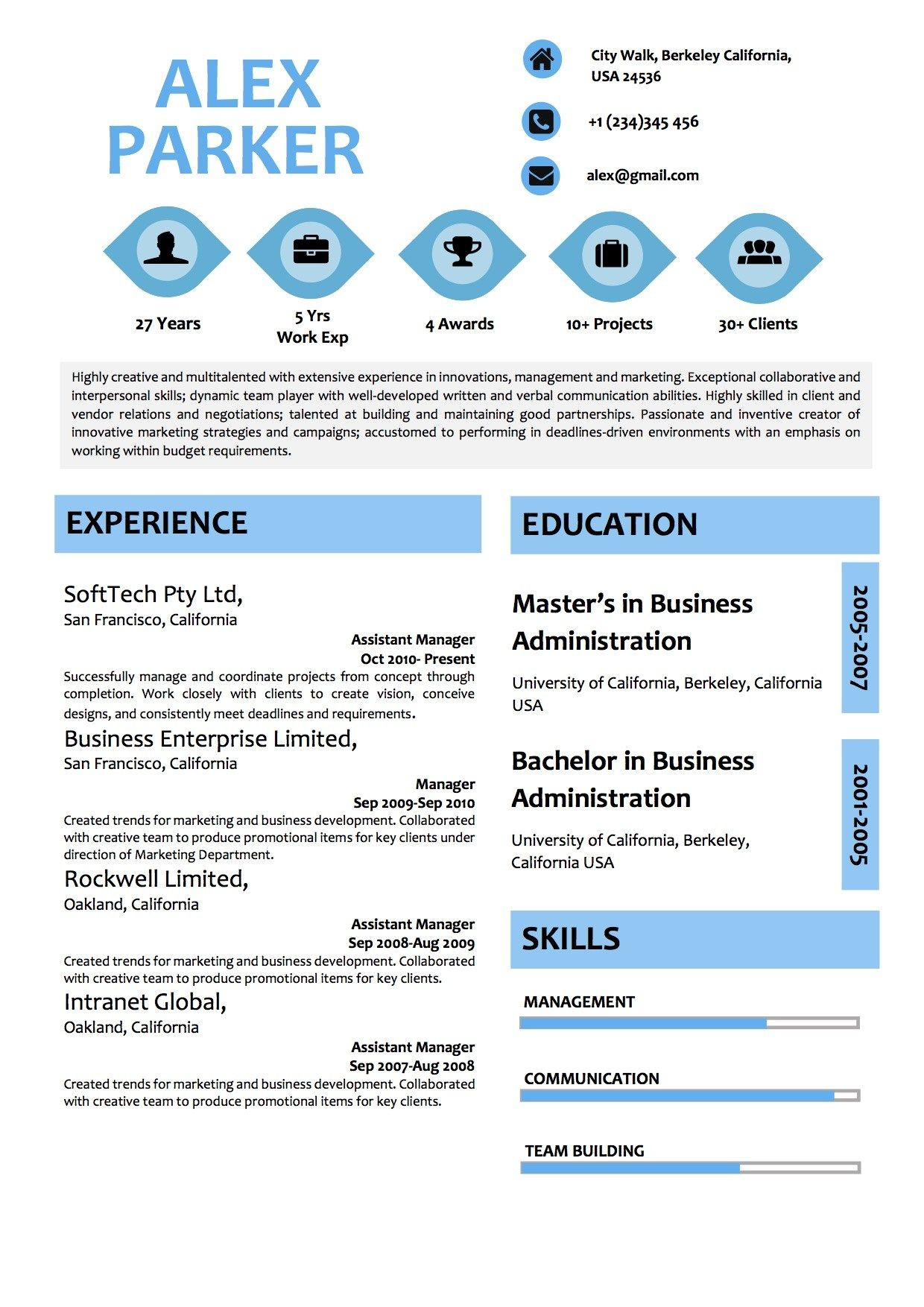 Blue modern resume with modern icons modern resume