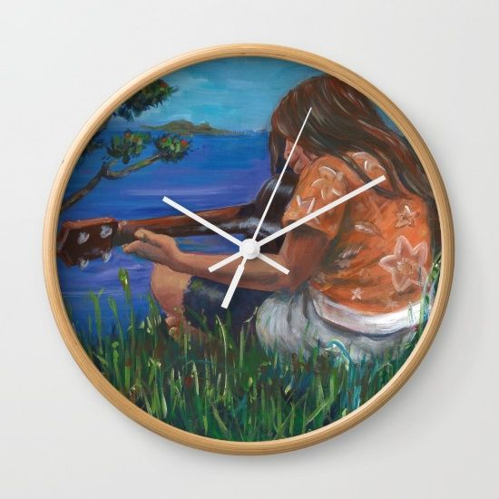 Playing ukulele Wall Clock