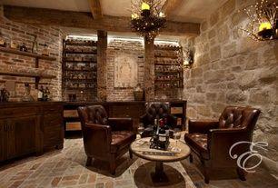 Mediterranean Wine Cellar With Riedel Vinum Xl Oaked Chardonnay 4 Piece Value Set Brick Floors Wall Sconce Home Wine Cellars Wine Room Design Cellar Design