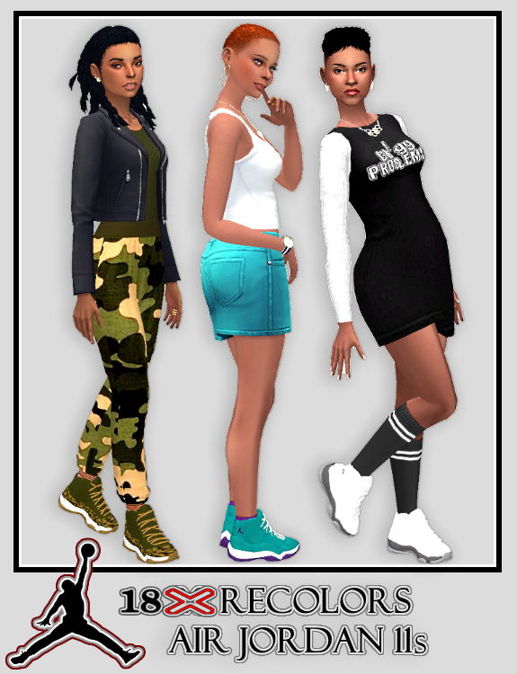 18 Recolors of SimsInBlaque's YF Jordan 11s I... - Playing Sims 4