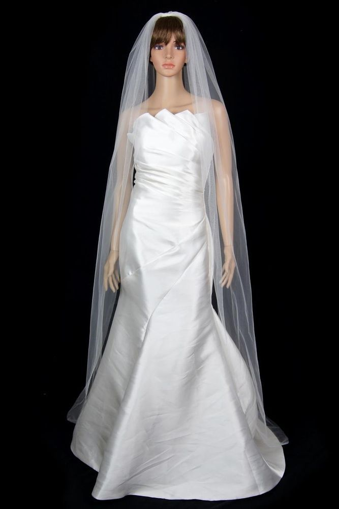 Bridal Wedding Classic Veil  Ivory 1 Tier Long Chapel Length Standard Cut Edge   #VelvetBridal