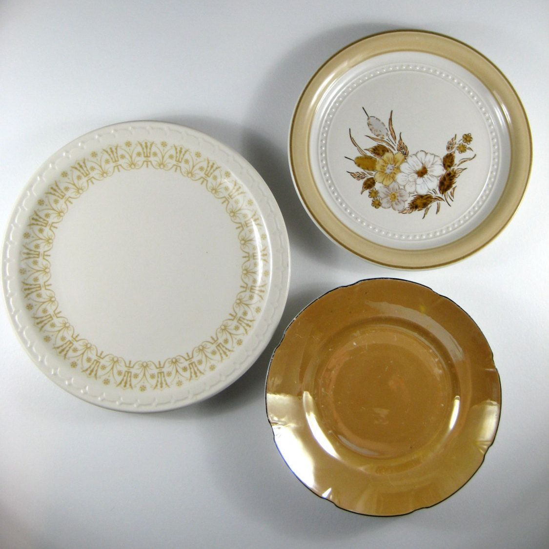 White Decorative Wall Plates Gold Peach Tan White Decorative Plates Mismatched Plates Vintage