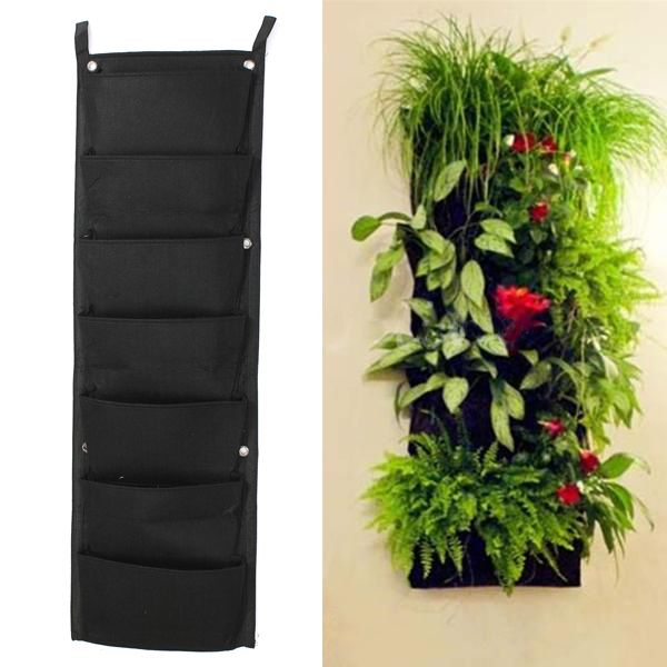 7 Pocket Indoor Outdoor Wall Hanging Planter Bags Plant Grow Bags