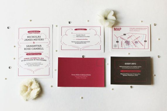 Flourished Wedding Invitation Set