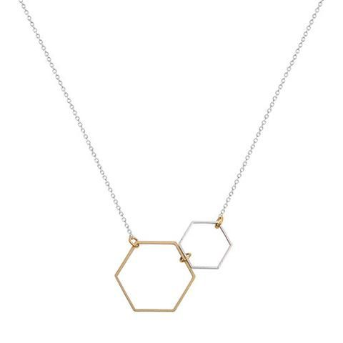 A Weathered Penny Double Hexagon Necklace - Tea and Kate