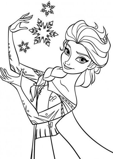 coloriage elza avec robe de la reine des neiges