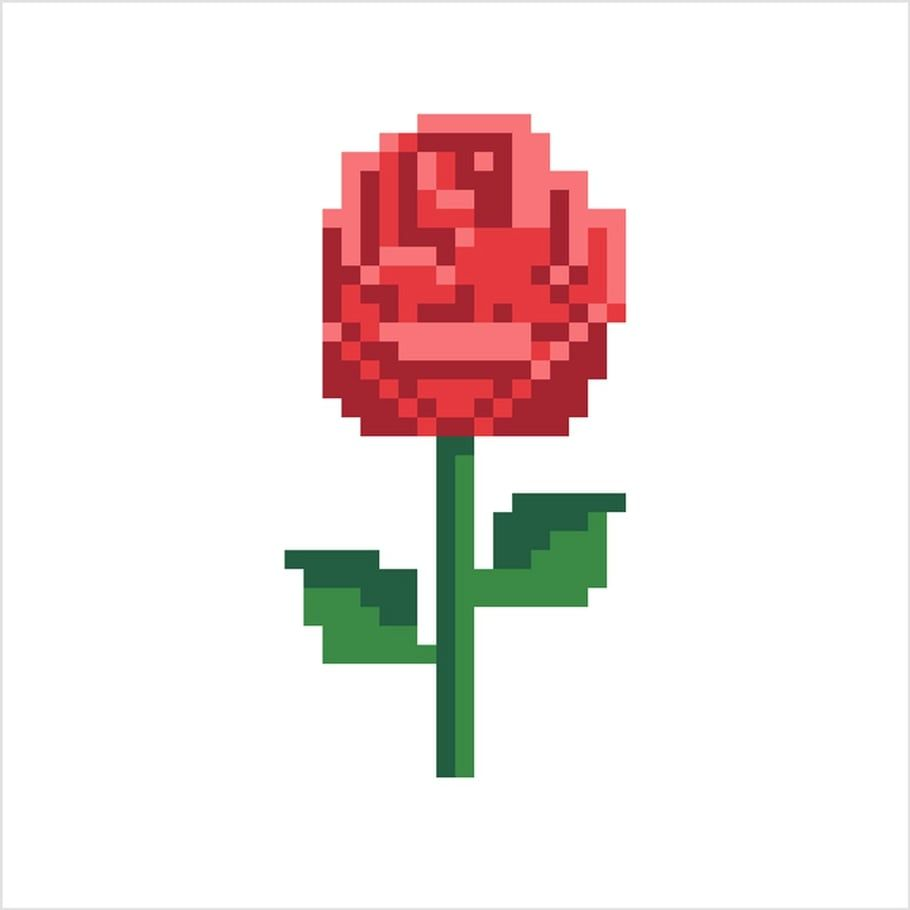 Coloriage Et Illustration D Une Rose Rouge En Pixel Art Un Pixel