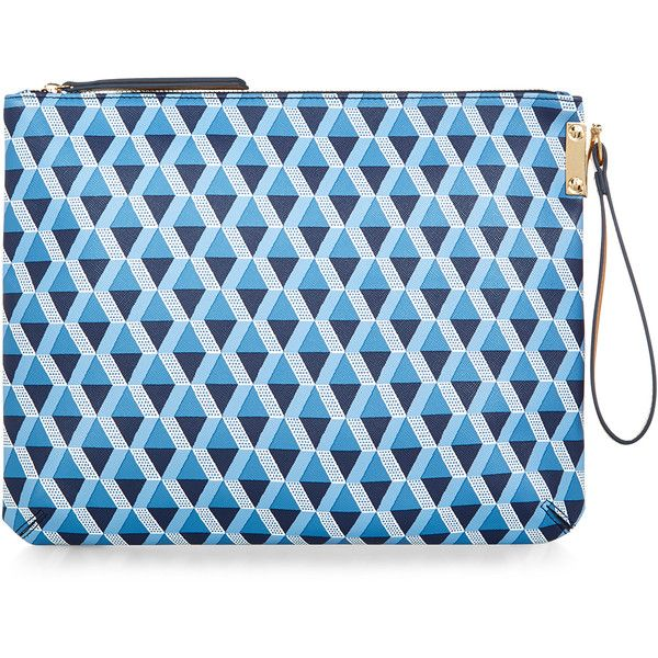 Accessorize Geo Print Clutch Bag ($15) ❤ liked on Polyvore featuring bags, handbags, clutches, blue handbags, geometric purse, blue purse and blue clutches