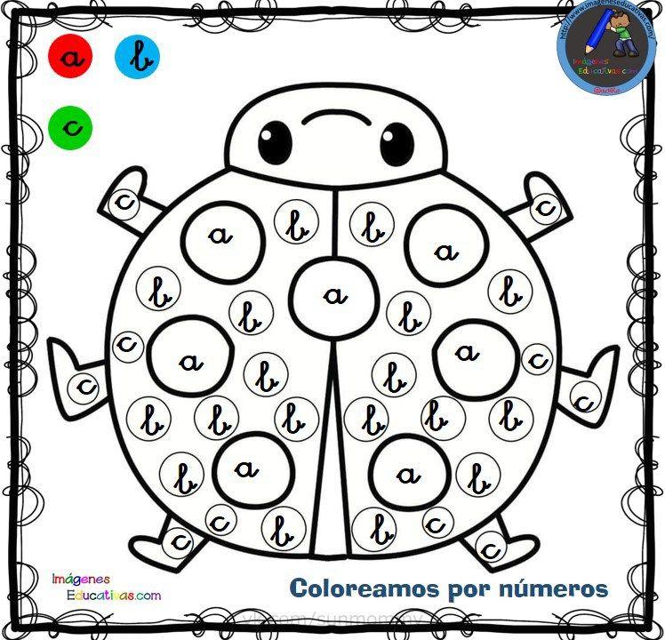 Fichas para colorear por letras, números y símbolos   educación ...