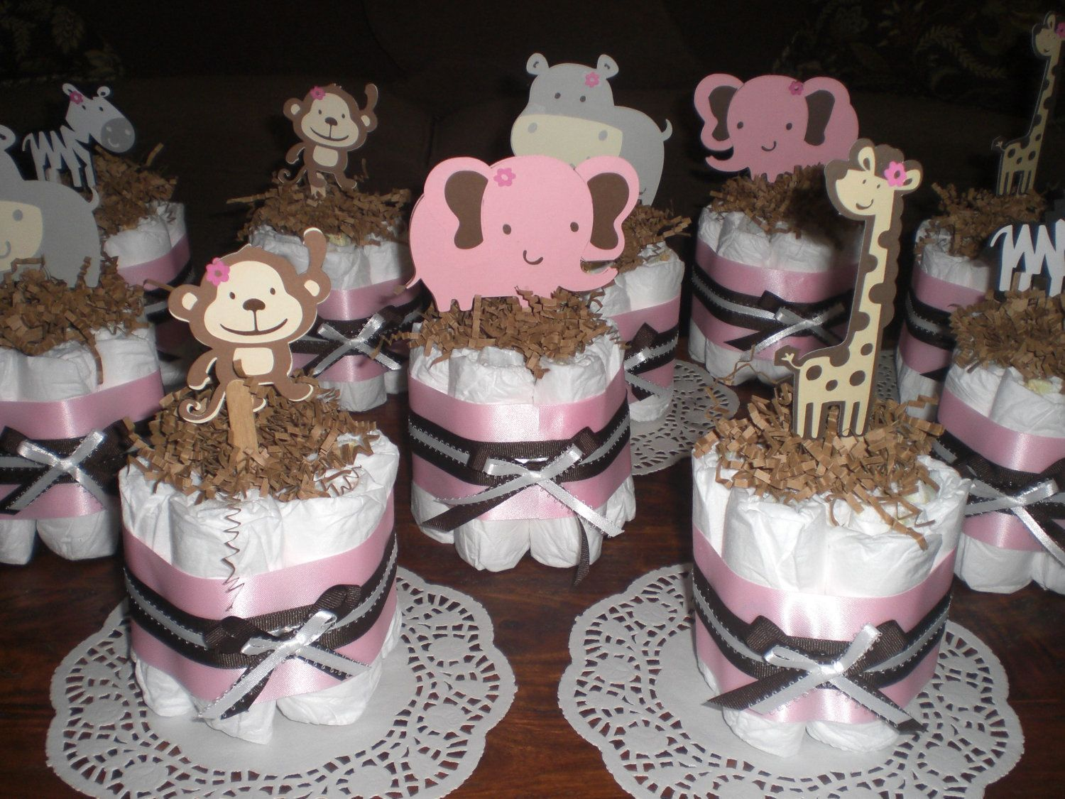 Winnie the pooh baby shower centerpiece ideas 48pc baby shower winnie - Safari Jungle Girl And Monkey Diaper Cakes Baby Shower Centerpieces Other Colors And Sizes Too
