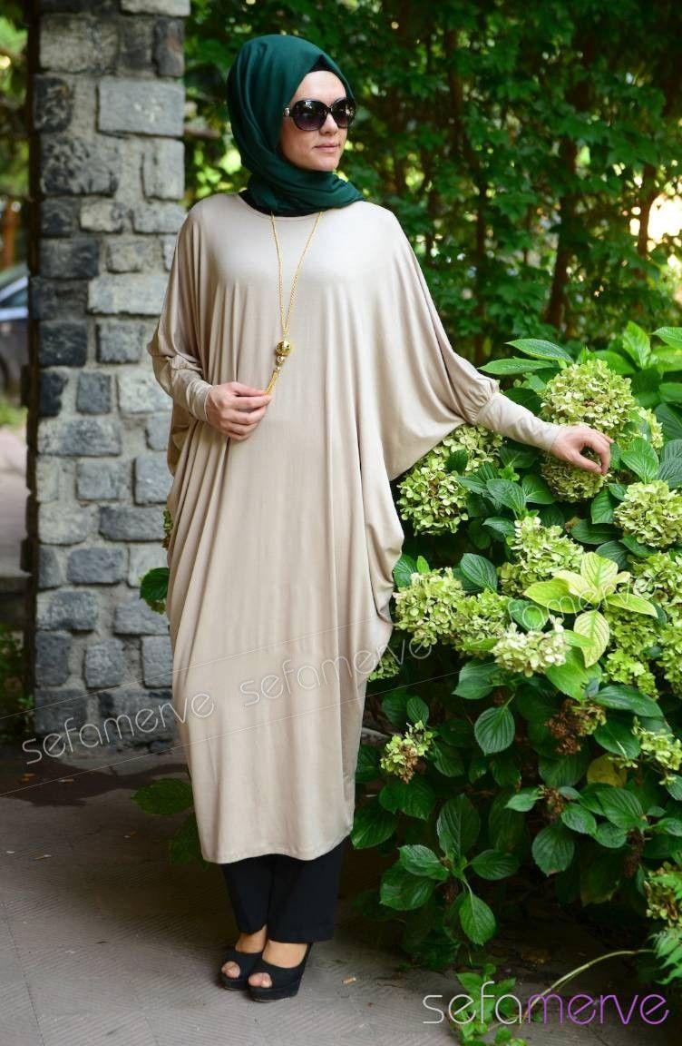 Sefamerve Uzun Tunik Modelleri 3714 06 Bej Moda Stilleri Tunik Abaya Tarzi