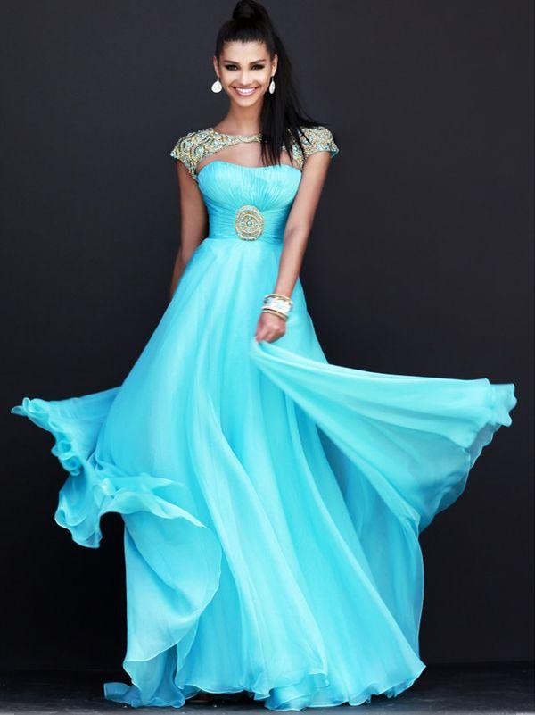 2015 Style A-line Bateau Floor-length Chiffon Prom Dresses ...