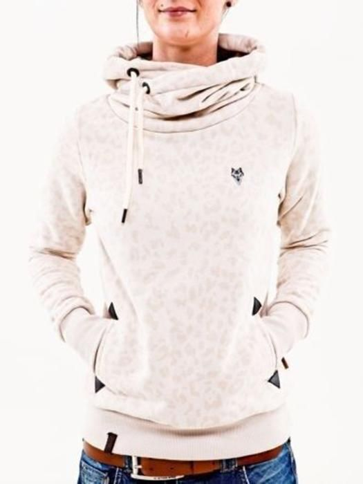 Leopard Drawstring Hooded Casual Pullover Sweatshirt in 2019