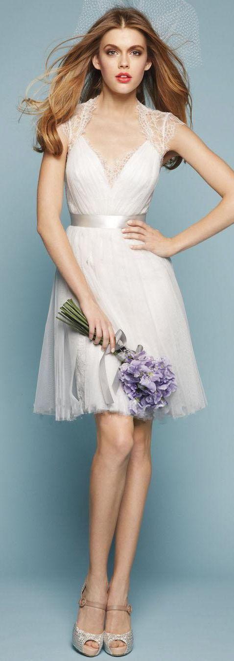 Short sheer, satin band, wedding dress | ♛Short Wedding, Reception ...