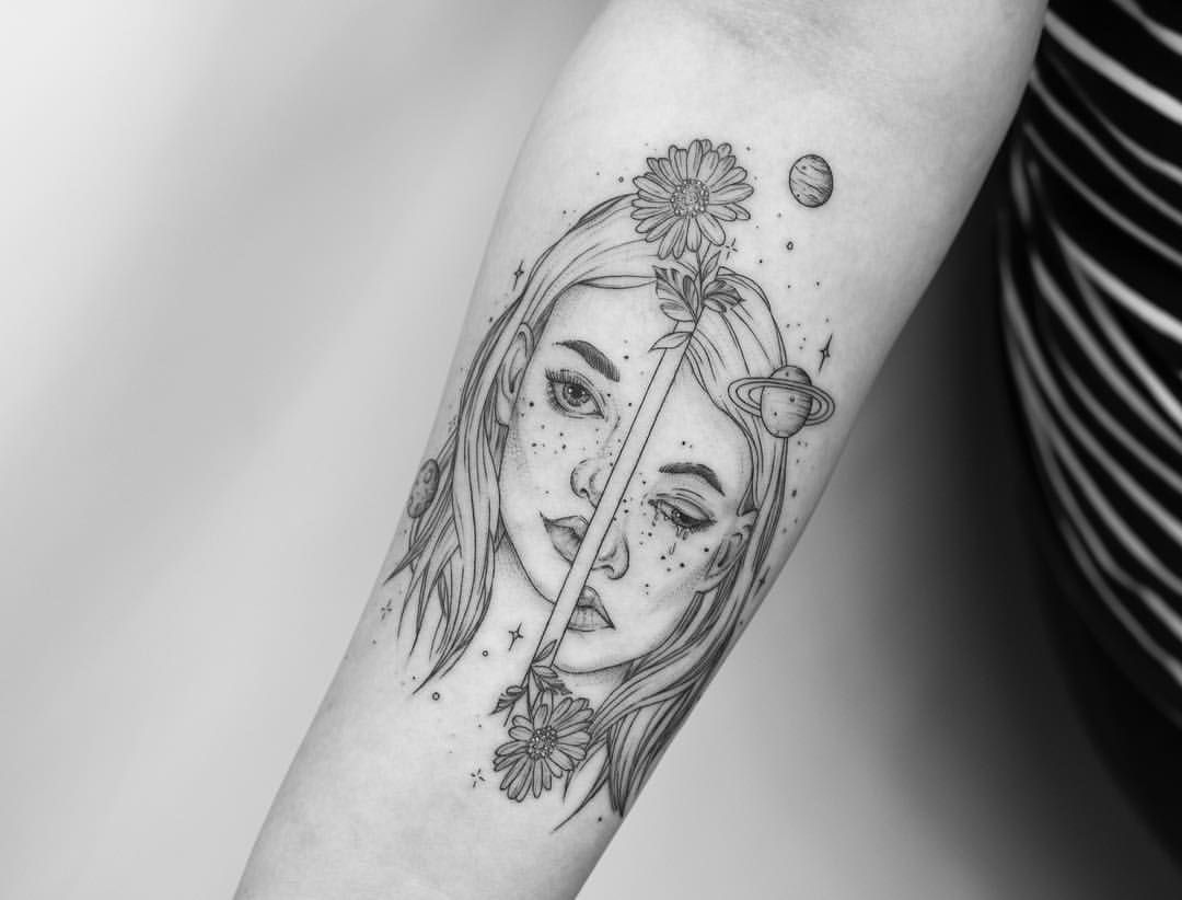 Happy sad face tattoo
