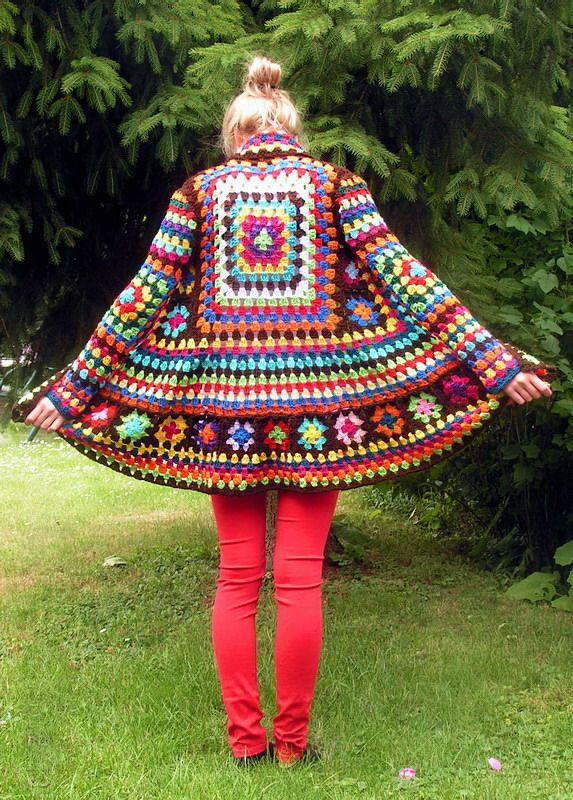 Isoäidin neliö isoäidinneliö virkattu virkkaus takki Neule Granny Jacke bunt 2