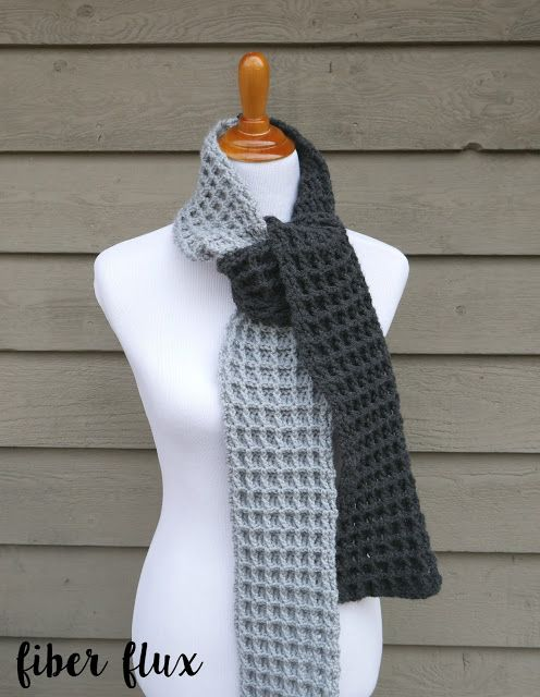Two Tone Waffle Stitch Scarf, free crochet pattern from Fiber Flux ...
