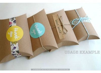 A cute packet of 10 kraft pillow boxes. Great for gift boxes, favors, and many other creative packaging use.