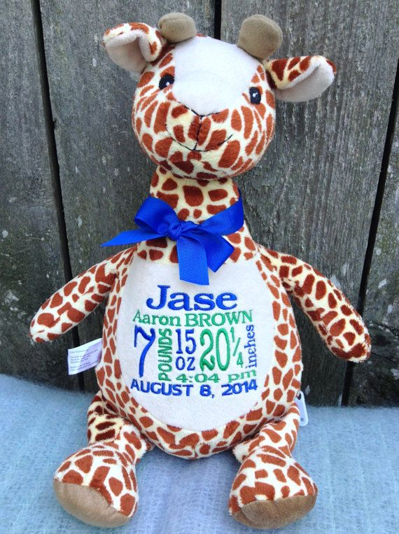 Personalized baby gift monogrammed giraffe birth announcement personalized baby gift monogrammed giraffe birth announcement personalized by world class embroidery negle Choice Image