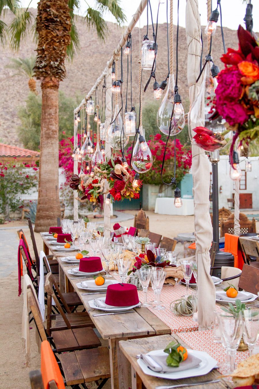 Table settings & Whimsical Moroccan Inspired Palm Springs Wedding | California ...