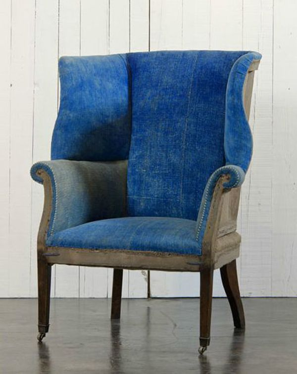 Hepplewhite Style Wing Chair...upholstered in worn denim...Unique country & Hepplewhite Style Wing Chair...upholstered in worn denim...Unique ...