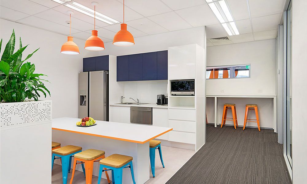 Funky custom kitchen design for Newcastle corporate office design ...