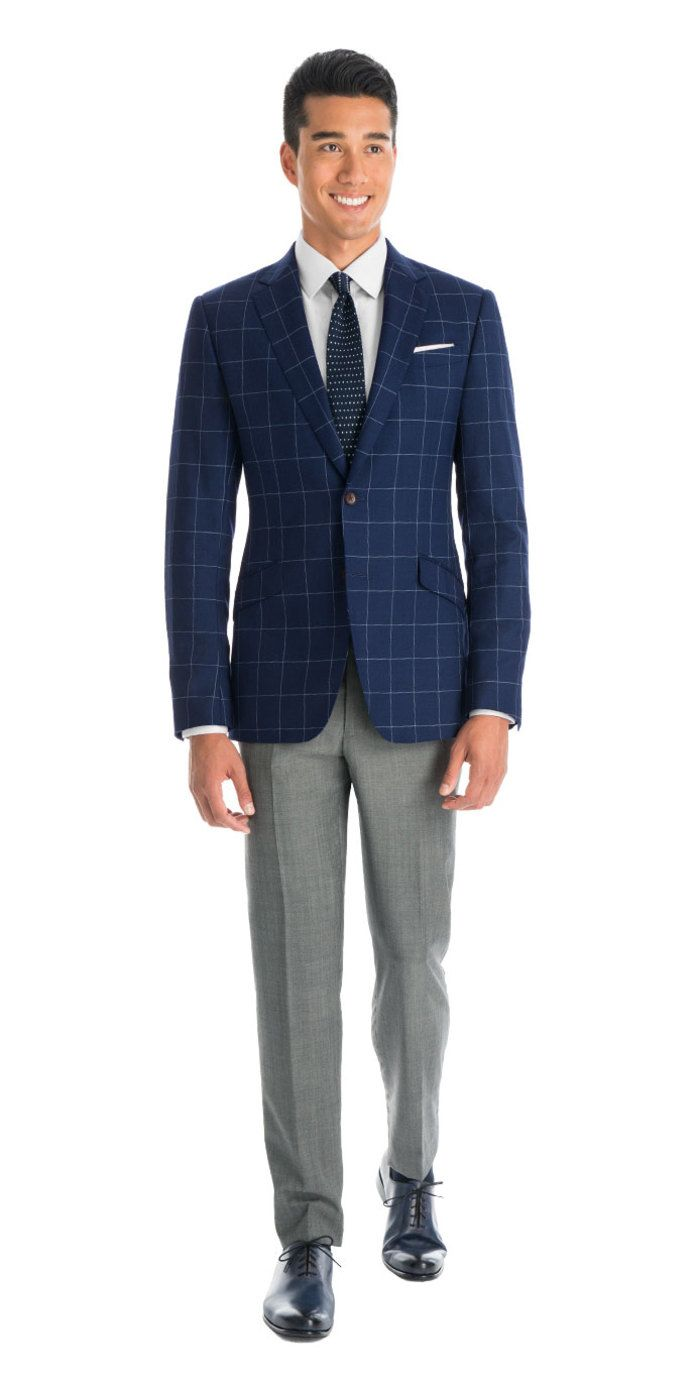 7b6723b8e1517c Check out this instant outfit. Matching men's separates couldn't be easier  than this. And since this Navy Windowpane blazer and Cool Gray pants  combination ...