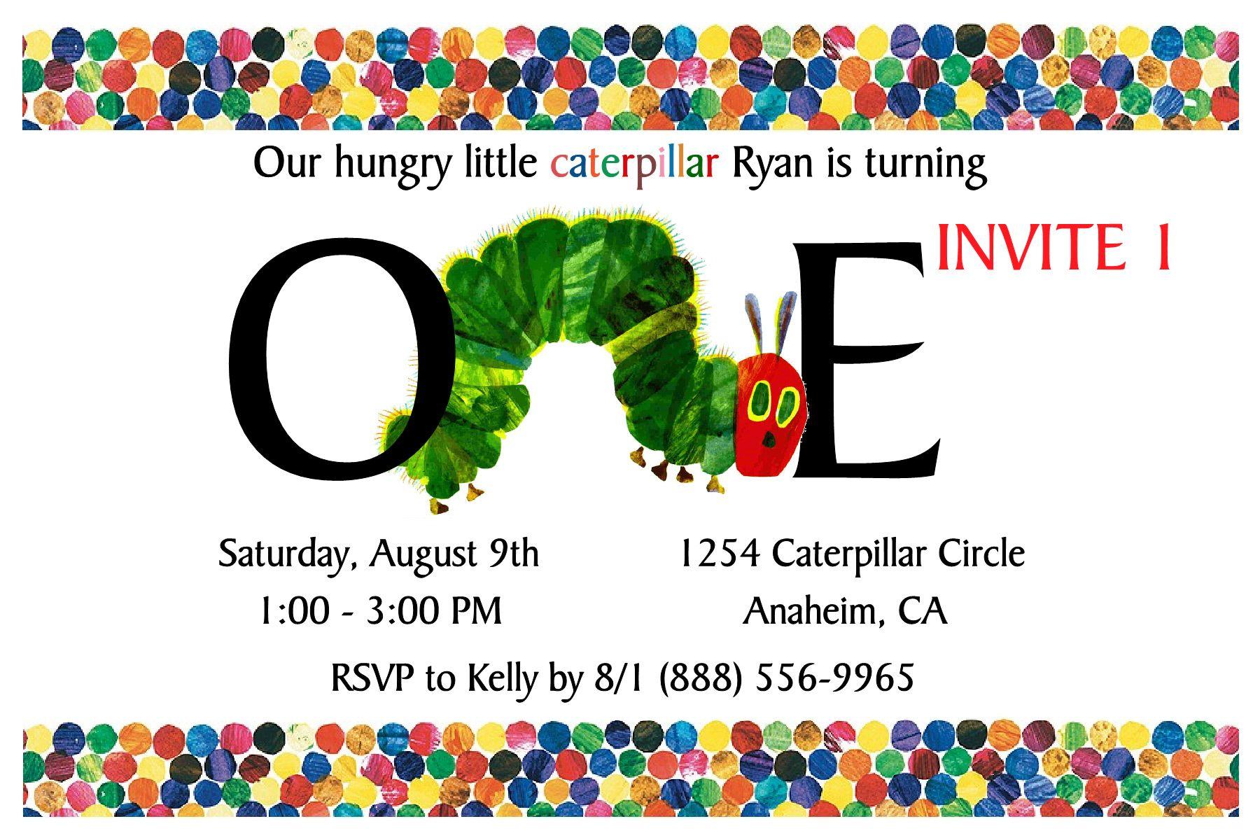 Very Hungry Caterpillar Birthday Invitation on the image