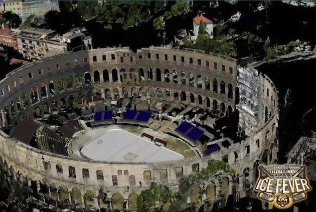 An Overhead View As To How It Will Look Ice Hockey Rink Hockey Amphitheater