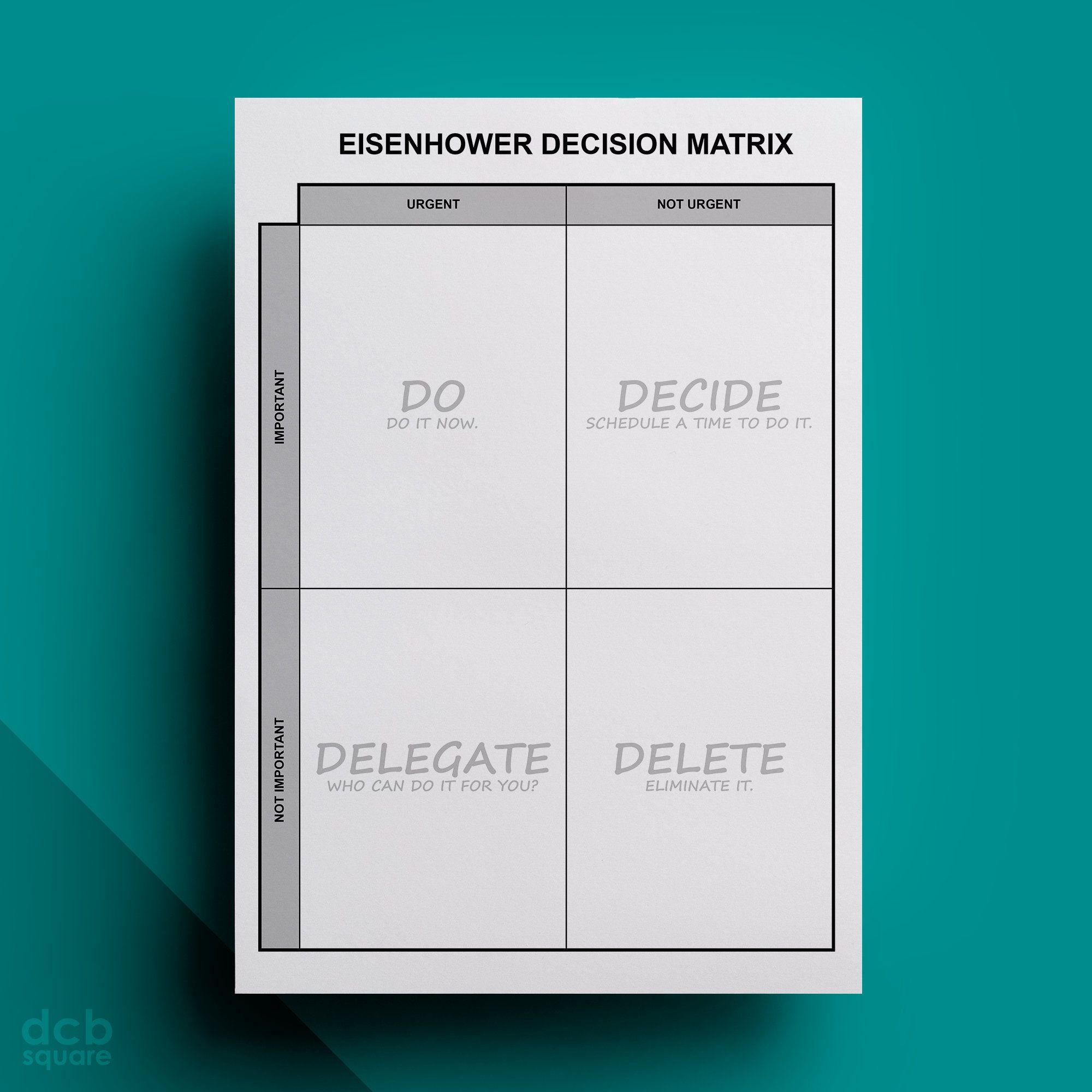 Eisenhower Decision Matrix Editable Printable Com Imagens