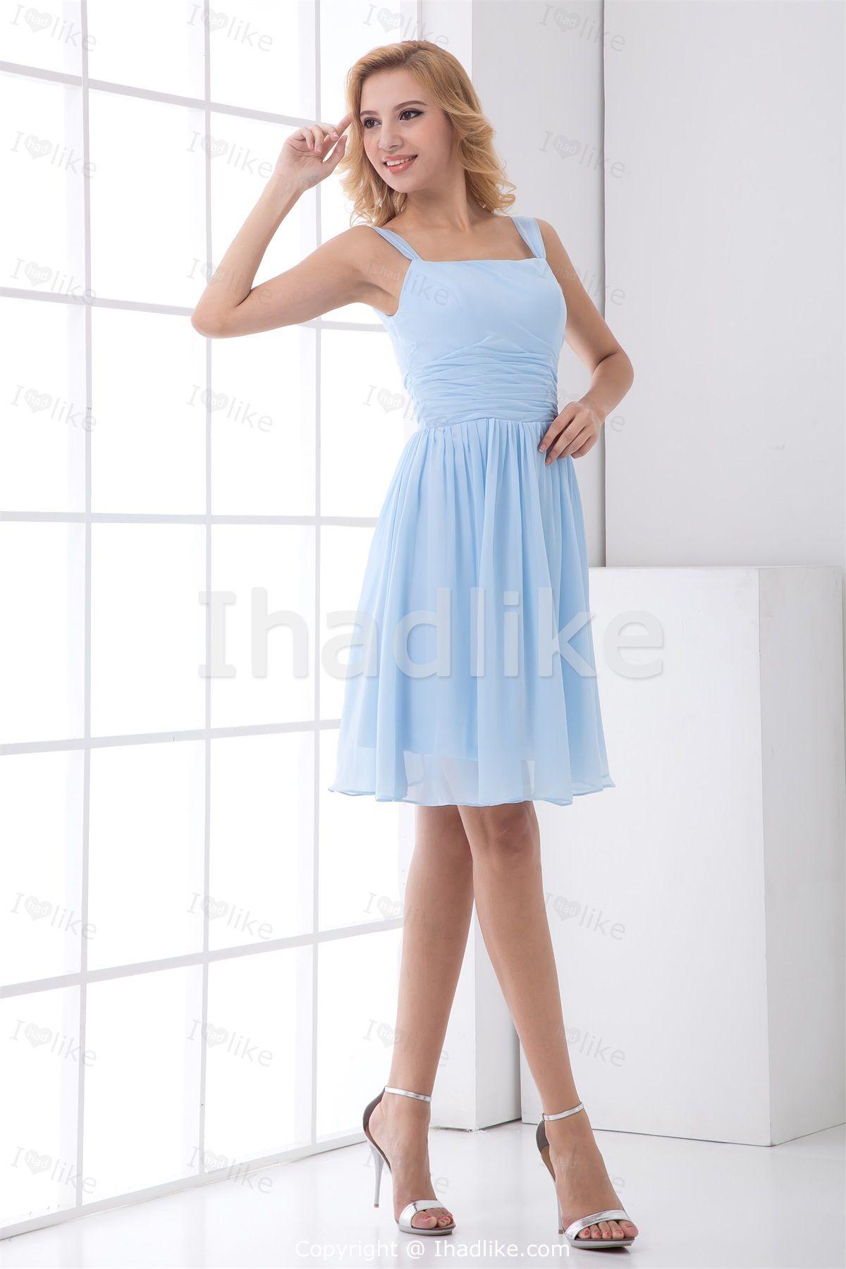 Light Sky Blue Short/ Mini Chiffon Square Petite Bridesmaid ...