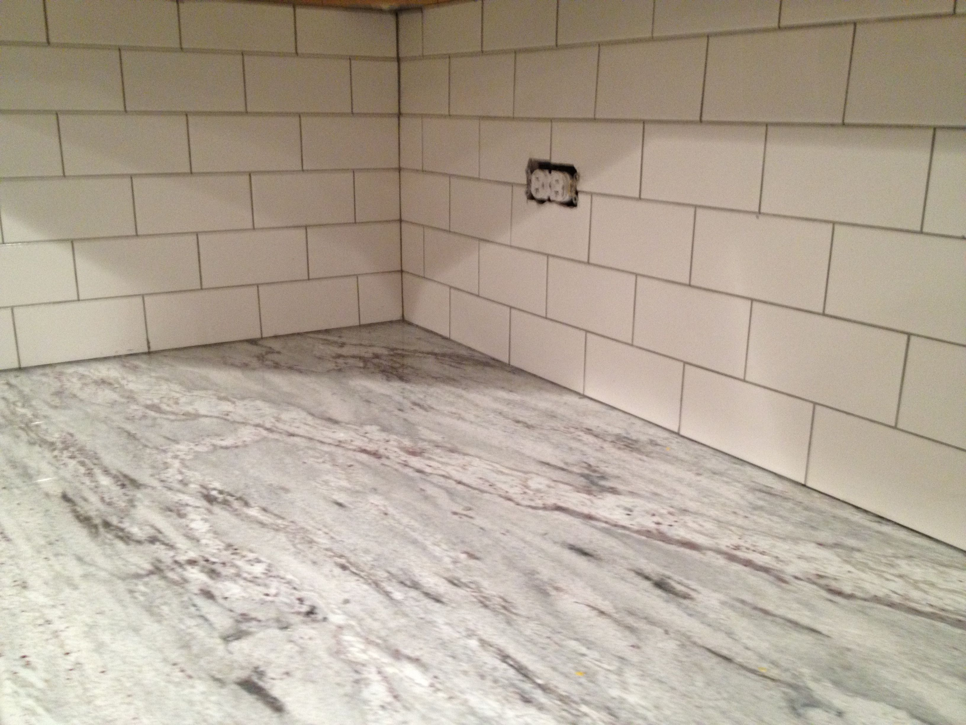 White subway tile backsplash done white subway tile grey grout white subway tile backsplash dailygadgetfo Choice Image