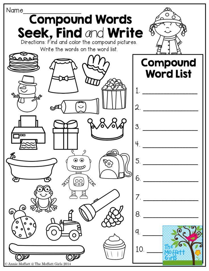 January No Prep Math And Literacy 1st Grade Compound Words Compound Words Worksheets First Grade Phonics Free printable compound word worksheets