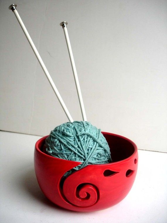 Red Ceramic Wheel Thrown Yarn Bowl In Process by NewMoonStudio