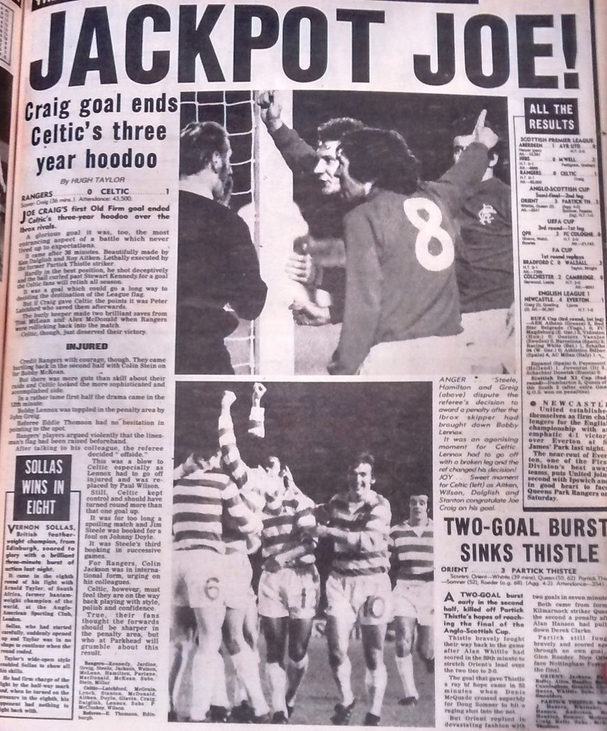 Rangers  Celtic  In Nov  At Ibrox Newspaper Report On The