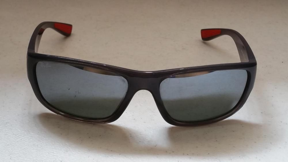 2adaed22e83ad  55.95 Ray Ban RB4196 Sunglasses Gray Red Frame Black Mirror Lenses  RayBan   Rectangular