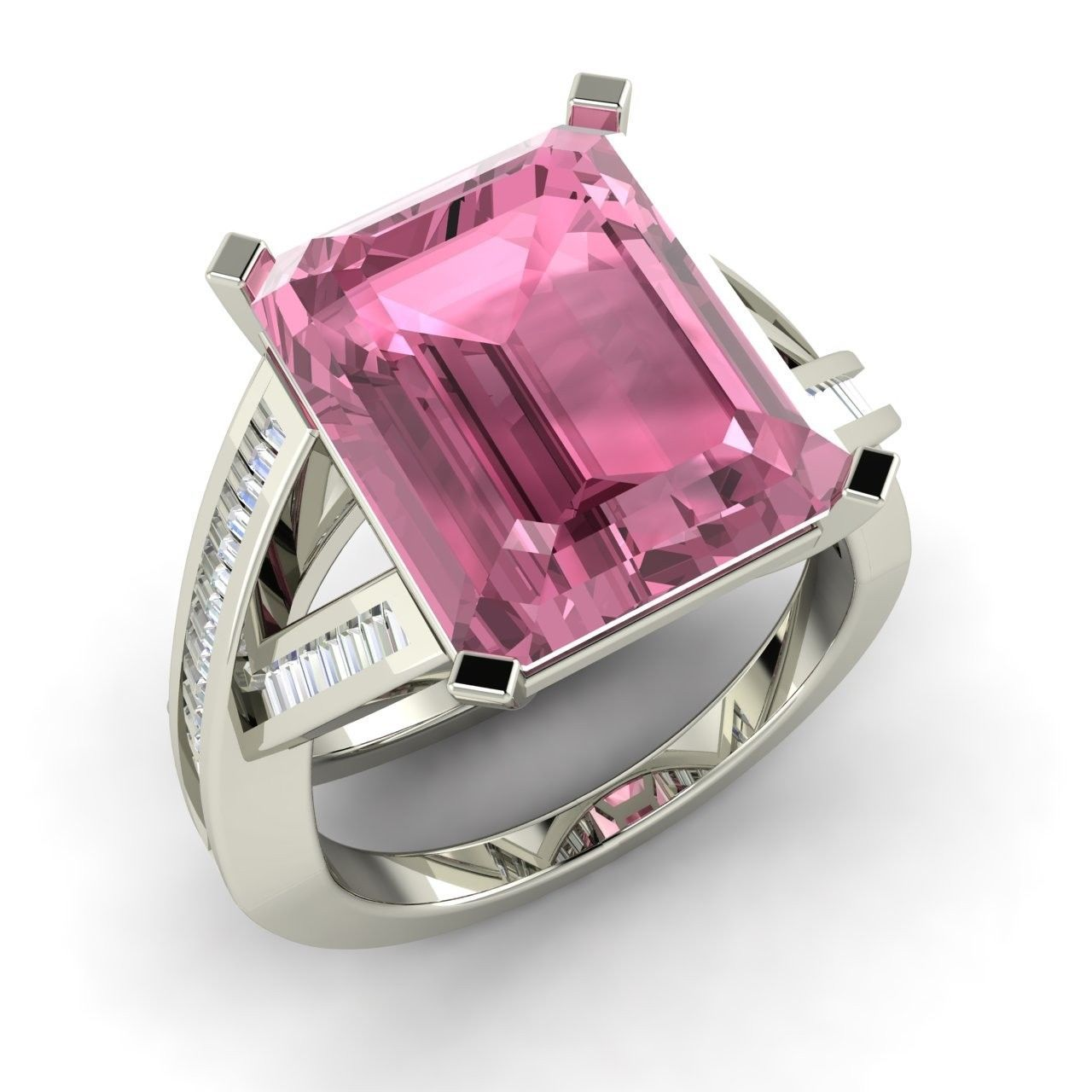 Emerald Cut Natural Pink Tourmaline Ring in 14k White Gold with ...