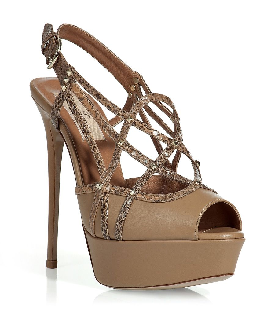 Tan Studded Platform Sandals - #Valentino... http://ladiesstylish.com/designers/valentino/shoes.html #LadiesStylish #Designer #Shoes