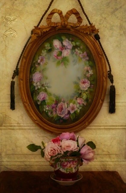 antique frame with hand painted roses on glass...♥ Idea for my ...