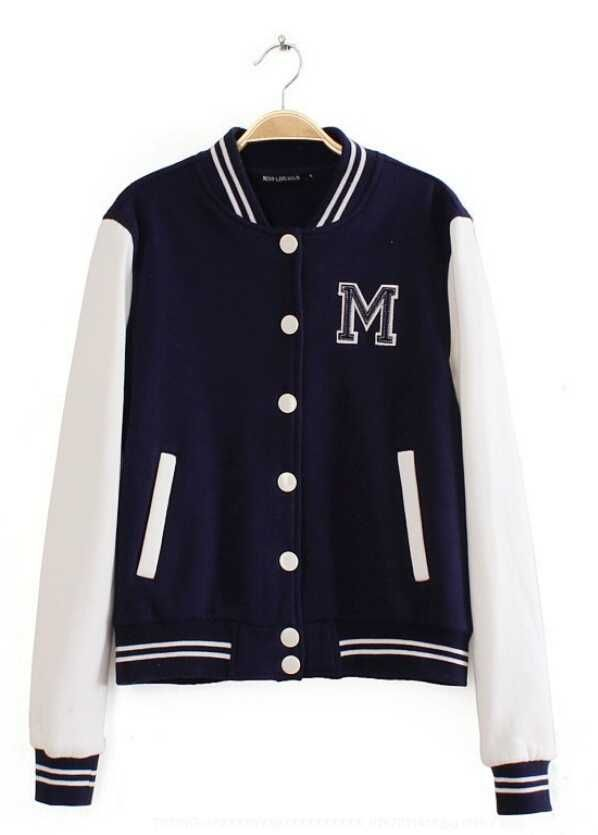 Girls Navy White Letter M Baseball Jacket Online