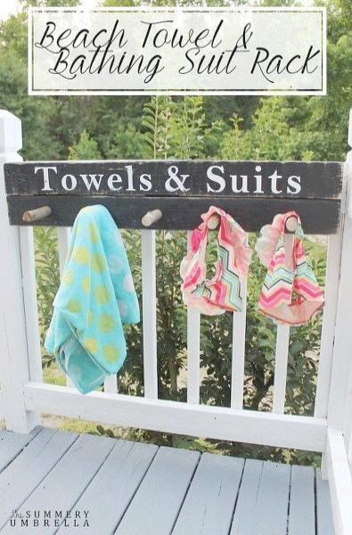 Beach Towel And Bathing Suit Rack Keep Your Pool Area Organized With This Cute Sign And Hanging Rack Pool Decor Pool Patio Beach House Decor