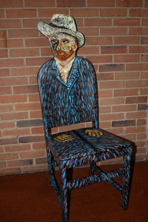 Van Gogh Self Portrait With Hat Upscaled Chair Painted By