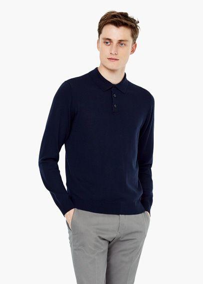 Long sleeves wool polo   MANGO MAN