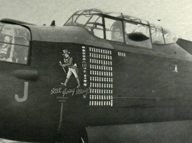 "Lancaster B.Mk.I 9 Sqn, RAF № WS-J (W4964) Crew CO: F.Пилот -лейтенант J.D.Melrose. Эмблема ""Johnny Walker"" Барнеу, Сентябрь 1944."